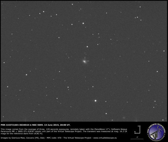 Possibile Supernova PSN J14372160+3634018 in NGC 5695: un' immagine (13 giugno 2015)