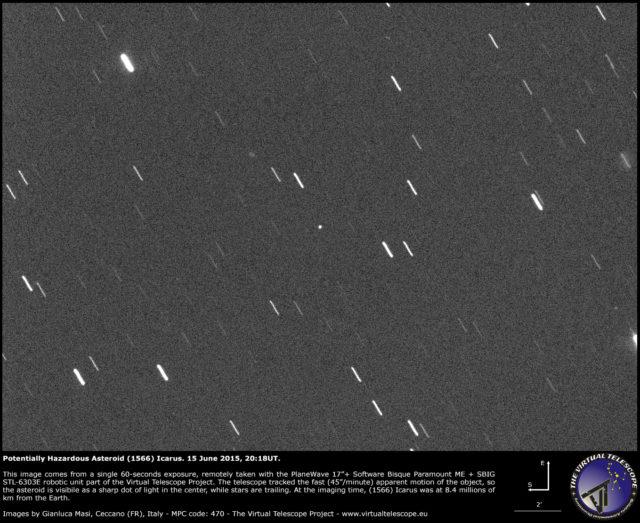 Raro incontro con l'asteroide potenzialmente pericoloso (1566) Icarus: un'immagine (15 giugno 2015)