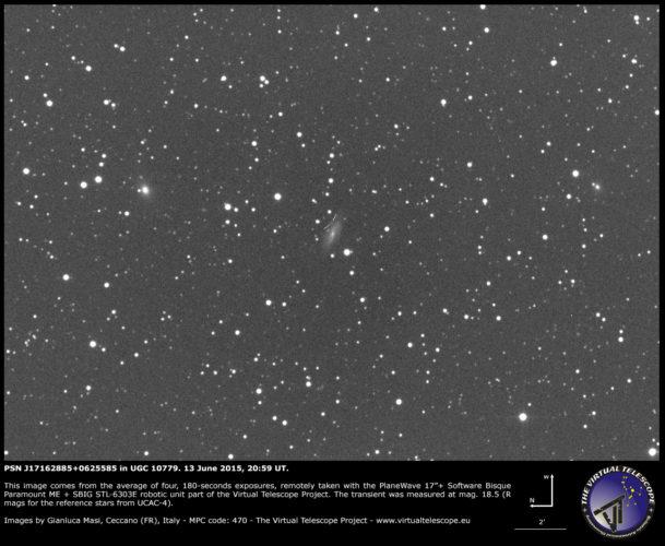 Possibile Supernova PSN J17162885+0625585 in UGC 10779: un'immagine (13 giugno 2015)