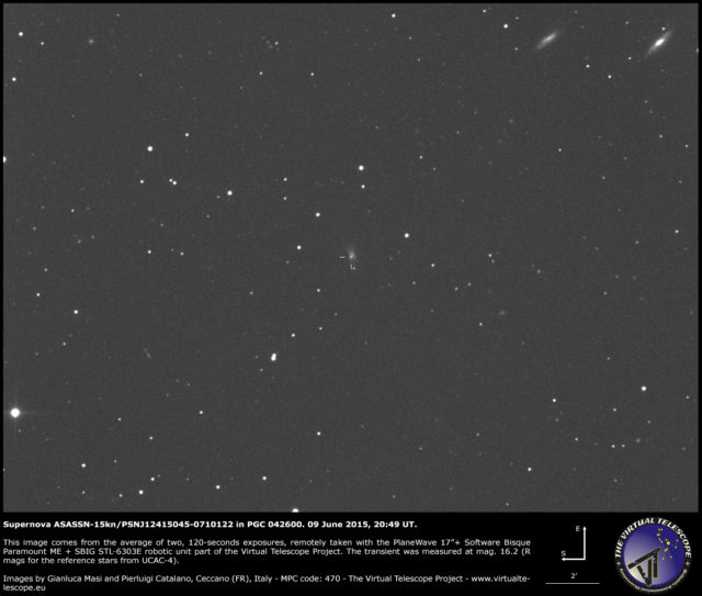 Supernova ASASSN-15kn/PSN J12415045-0710122 in PGC 042600: un'immagine (9 giugno 2015)