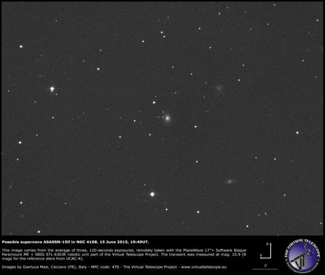 Possibile supernova ASASSN-15lf in NGC 4108: un'immagine (15 giugno 2015)
