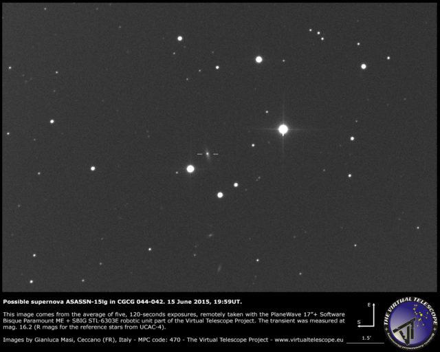 Possibile supernova ASASSN-15lg in CGCG 044-042: un'immagine (15 giugno 2015)