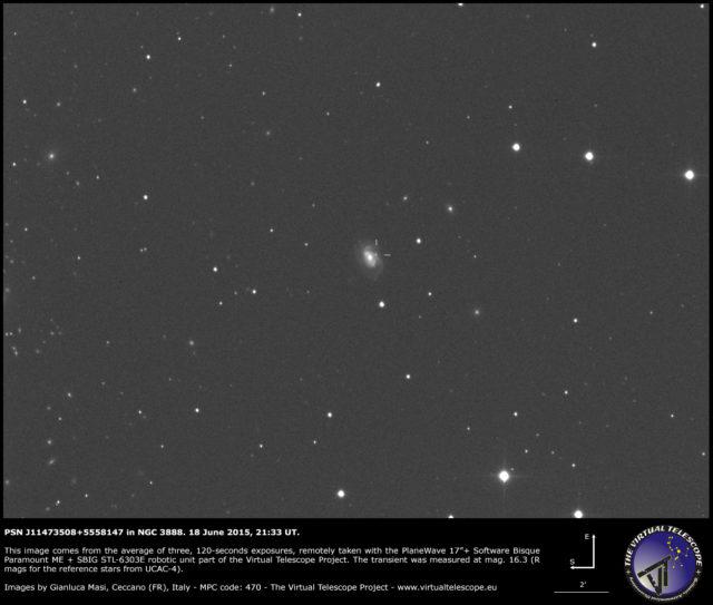 Possibile supernova PSN J11473508+5558147 in NGC 3888: un'immagine (18 giugno 2015)