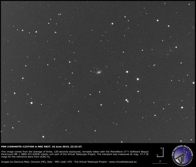 Possibile supernova PSN J15044078+1237436 in NGC 5837: un'immagine (16 giugno 2015)
