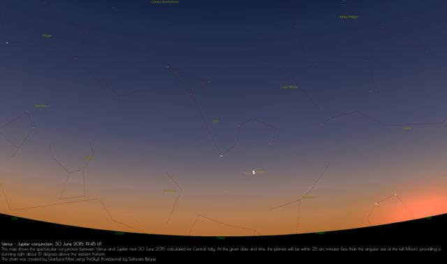 Congiunzione Venere-Giove: 30 giugno 2015