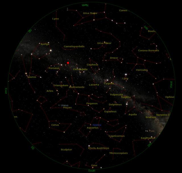 Cielo visibile il 13 agosto, alle ore 2.30 estive (con marcata la posizione del radiante)