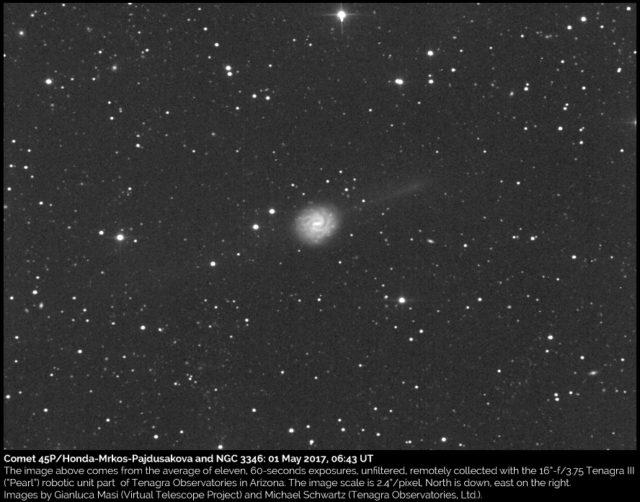 La cometa 45P/Honda-Mrkos-Pajdusakova e la galassia NGC 3346: 01 maggio 2017