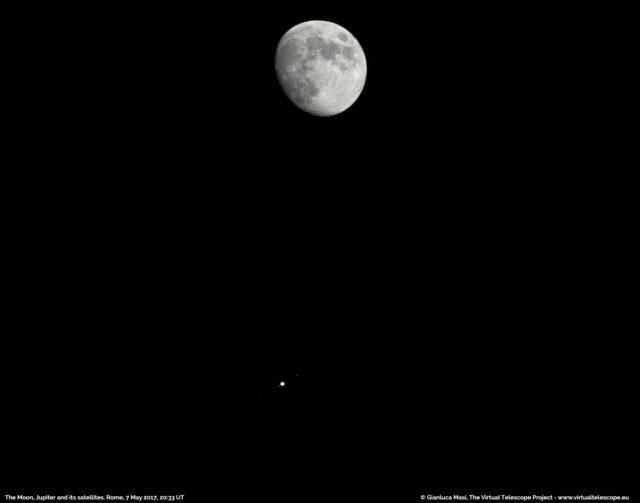 La Luna e Giove con i suoi satelliti Galileiani - 7 maggio 2017
