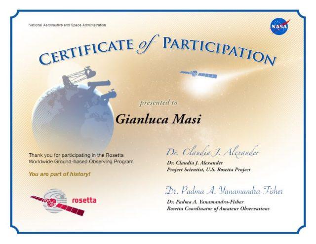 Rosetta: Certificato di Participazione