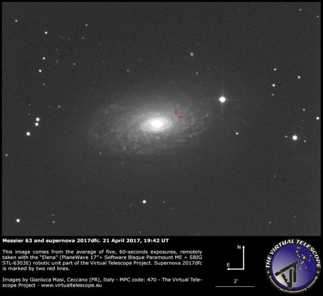 Supernova SN 2017dfc e Messier 63: 21 Apr. 2017