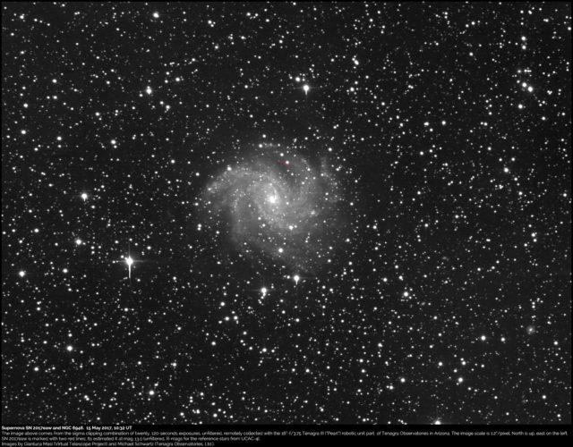 Supernova SN 2017eaw e NGC 6946: 15 maggio 2017