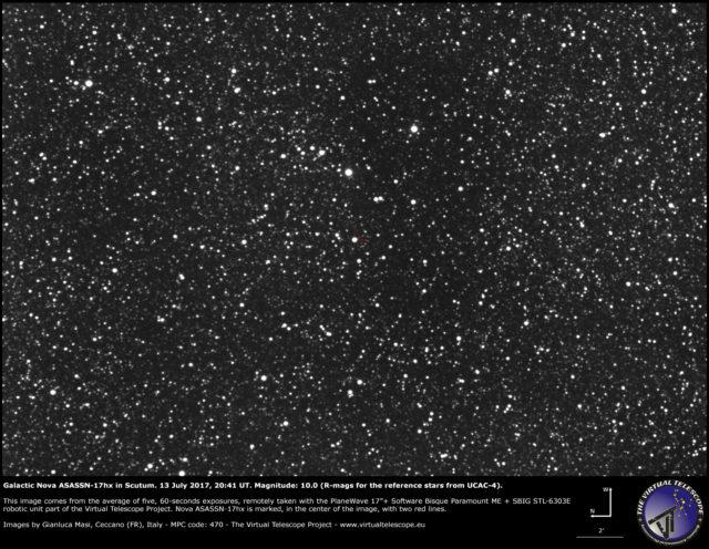 Nova galattica ASASSN-17hx nello Scudo: 13 Luglio 2017