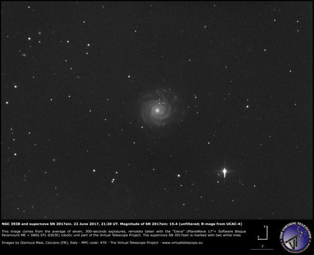 NGC 3938 e la supernova SN 2017ein: 22 giugno 2017