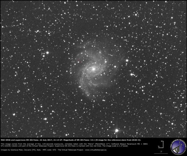 Supernova SN 2017eaw e NGC 6946: 22 Luglio 2017