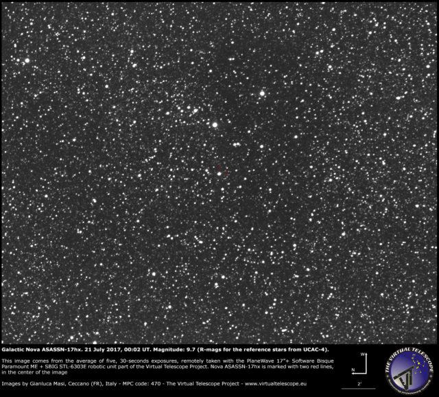 Nova galattica ASASSN-17hx in Scutum: 21 luglio 2017