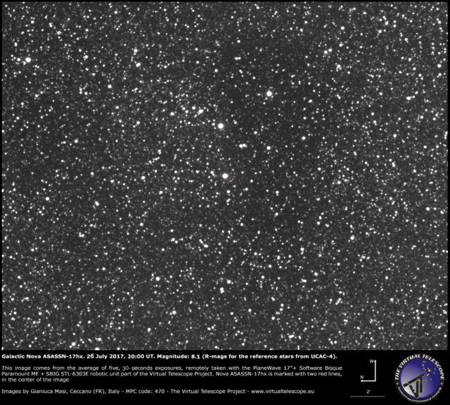 Nova galattica ASASSN-17hx nello Scudo: 26 Luglio 2017