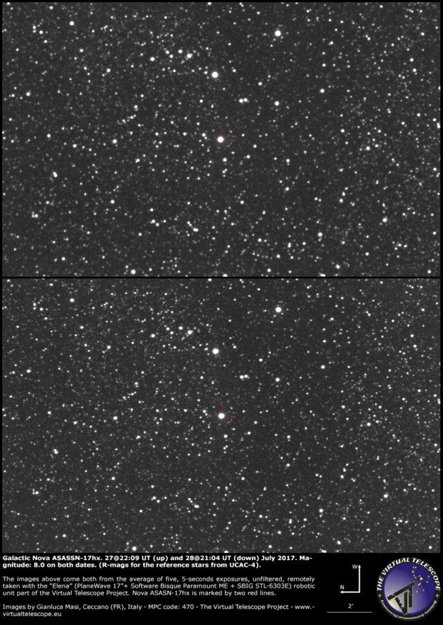 Nova galattica ASASSN-17hx in Scudo: 27 (sopra) e 28 (sotto) Luglio 2017