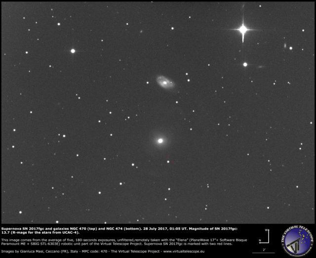 Supernova SN 2017fgc con le galassie NGC 470 (sopra) e NGC 474 (sotto): 28 Luglio 2017