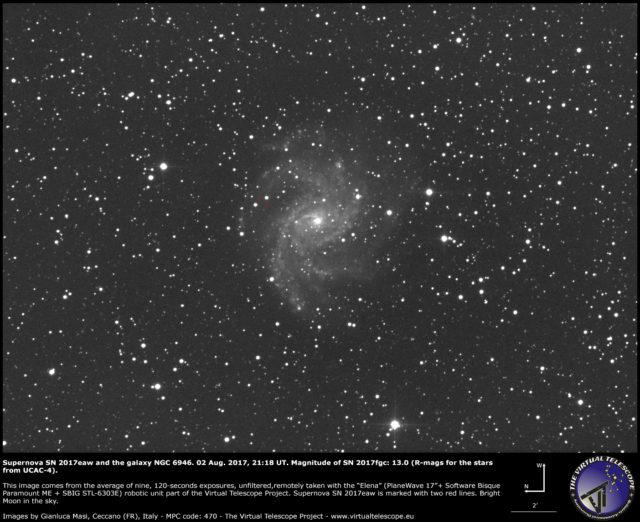 Supernova SN 2017eaw e NGC 6946: 02 Agosto 2017