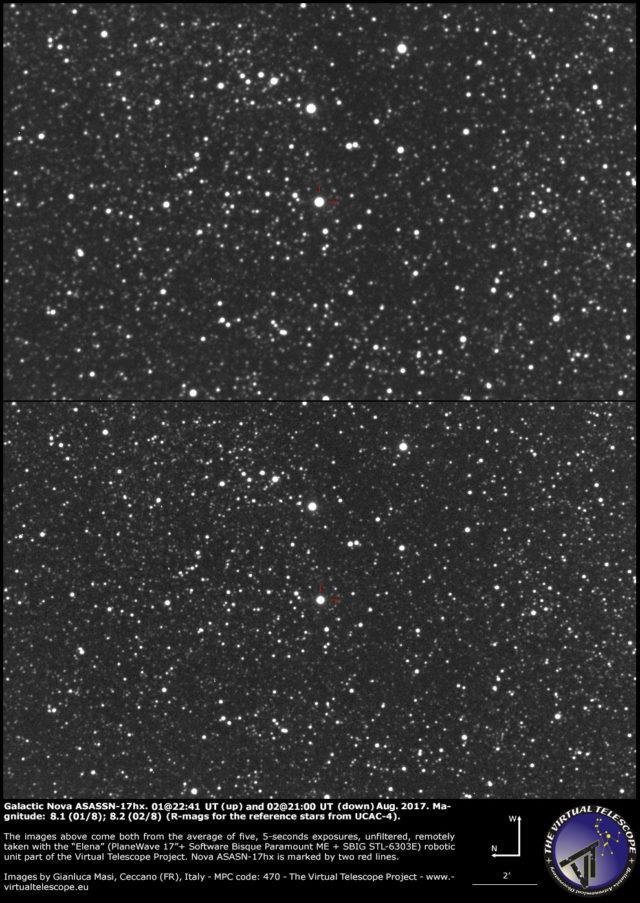 Nova galattiva ASASSN-17hx nello Scudo: 01 (sopra) e 02 (sotto) Agosto 2017
