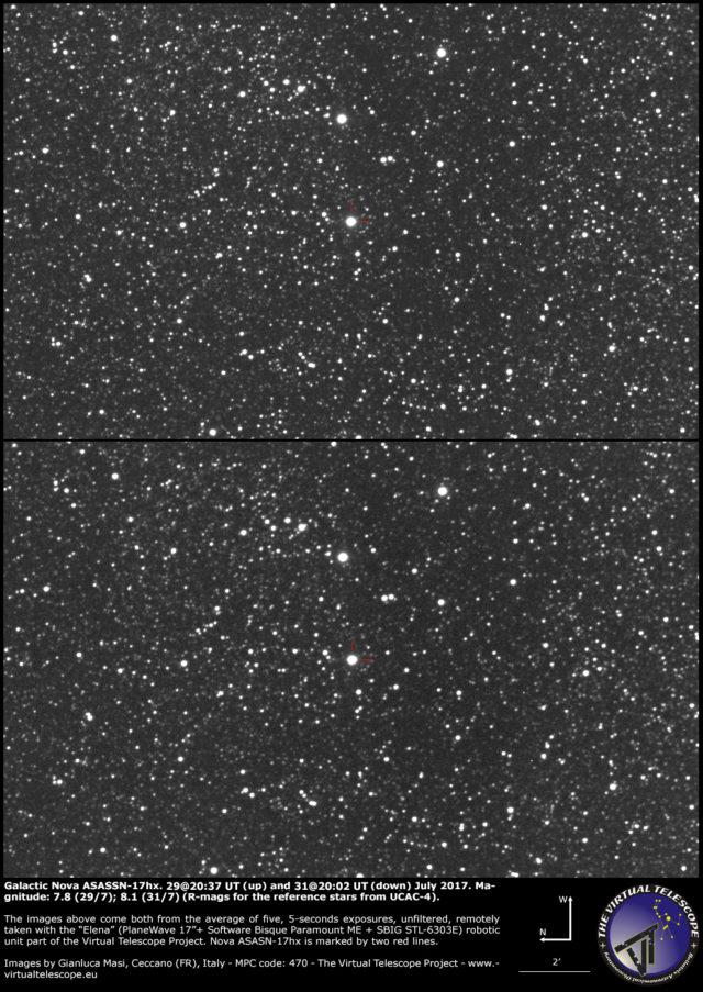 Nova galattica ASASSN-17hx nello Scudo: 29 (sopra) e 31 (sotto) Luglio 2017