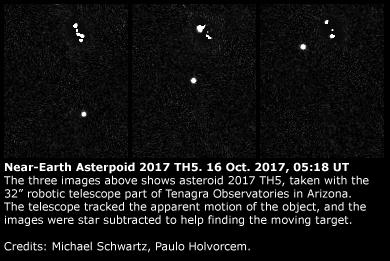 Asteroide Near-Earth 2017 TH5: 16 Ottobre 2017