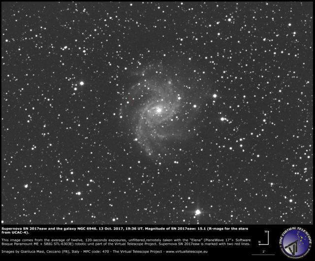 Supernova SN 2017eaw e NGC 6946: 13 ottobre 2017