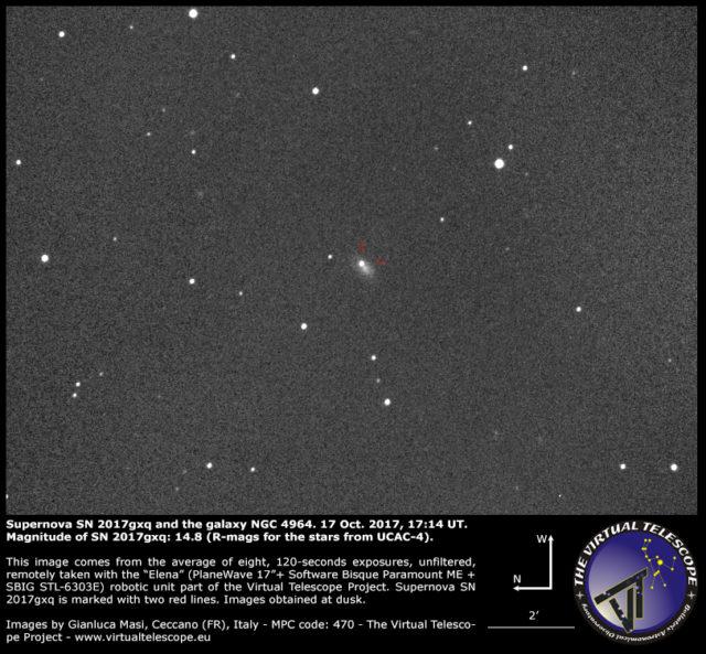 Supernova SN 2017gxq and NGC 4964: 17 Ottobre 2017