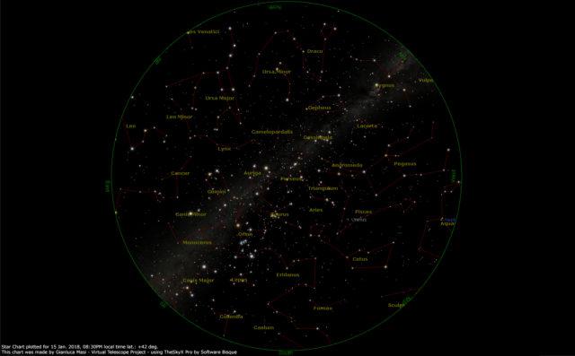 Il cielo visibile il 15 gennaio 2018, alle ore 20:30, calcolato per Roma