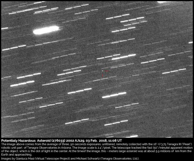 Asteroide Potenzialmente Pericoloso (276033) 2002 AJ129: 3 febbraio 2018