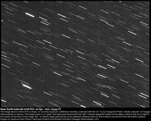 Asteroide Near-Earth 2018 DV1: 02 Mar. 2018