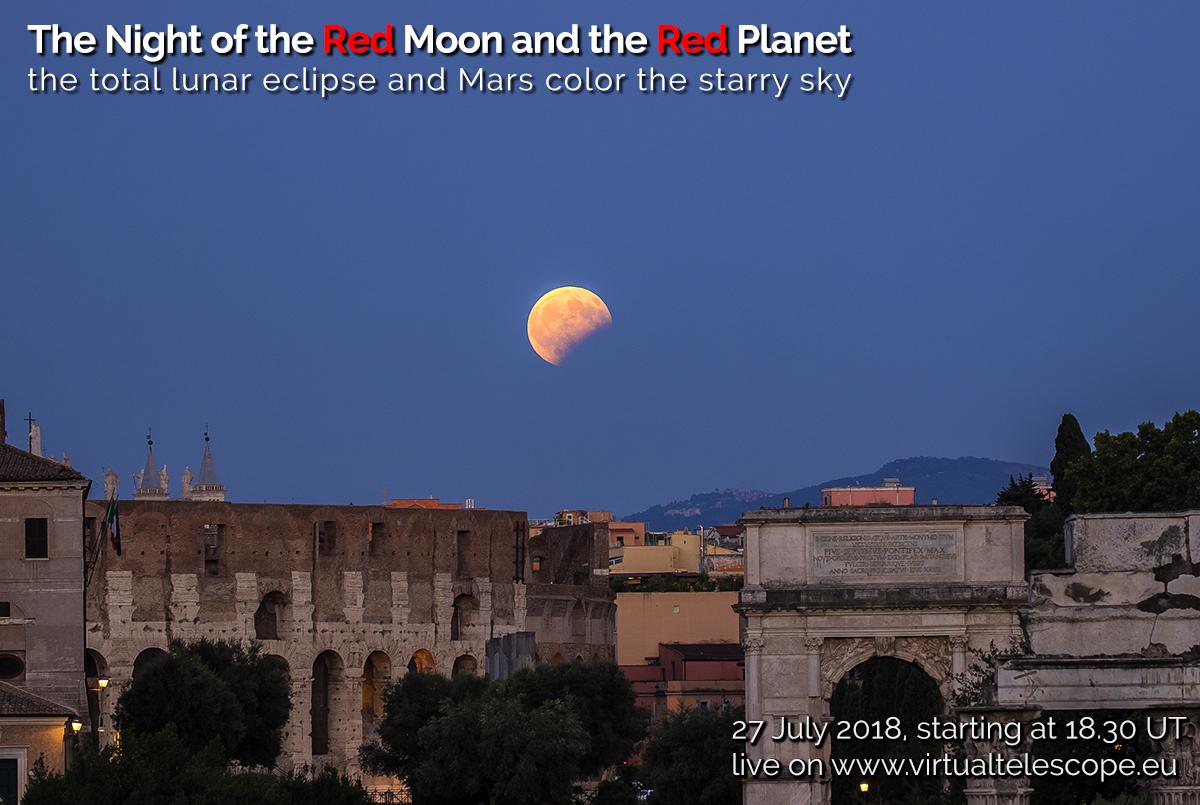 La Notte della Luna Rossa e del Pianeta Rosso: locandina dell'evento live