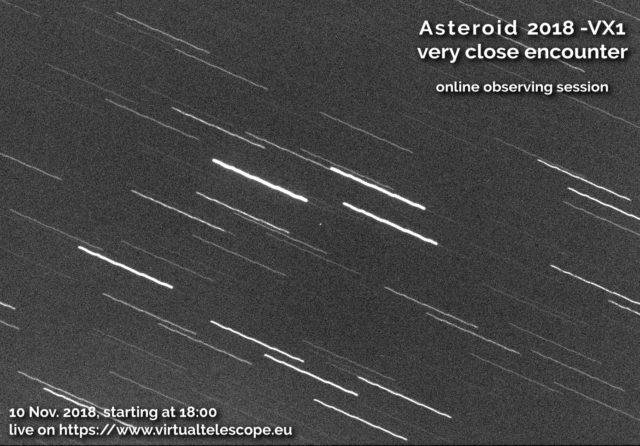 Diretta per l'asteroide near-Earth 2018 VX1: locandina