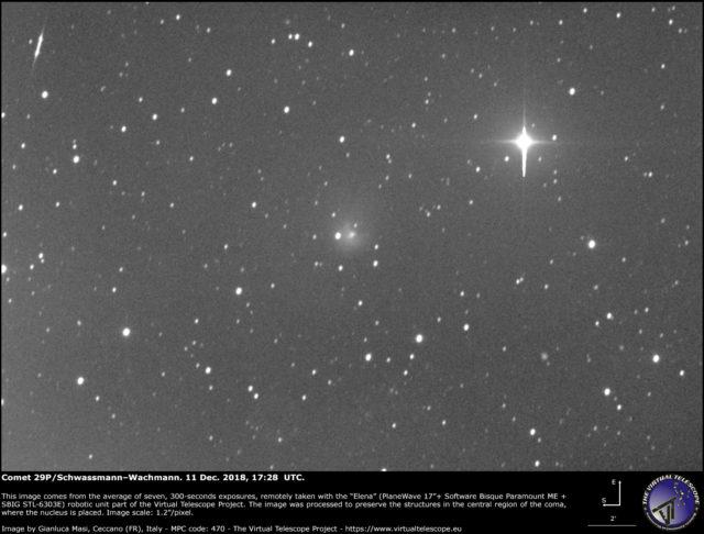 Cometa 29P/Schwassmann-Wachmann in outburst: 11 dicembre 2018