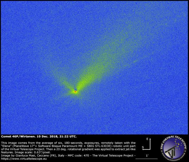 Cometa 46P/Wirtanen dopo l'applicazione di un filtro rotazionale: 10 Dic. 2018
